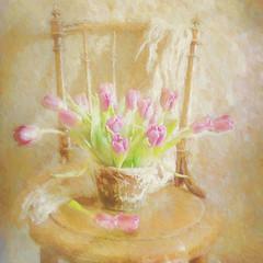 Tulips on old chair. (BirgittaSjostedt) Tags: flower tulip pot stilllife still texture paint painted brushes light bright birgittasjostedt