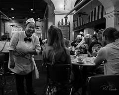 Cafe du Monde (PJ Resnick) Tags: neworleans pjresnick perryjresnick pjresnickgmailcom pjresnickphotographygmailcom ©2017pjresnick ©pjresnick contrast digital light shadow black highspeediso fujifilm fuji fujinon xf resnick rectangle rectangular white animalia monochrome blackandwhite monochromatic people acros portrait acrosg fujifilmacros filmsimulation nola fujifilmxpro2 xpro2 fujixpro2 35mm fujinon35mm fuji35mmf14 glass woman women street streetphotography night 4x5 cafedumonde restaurant beignet coffee man frenchquarter french quarter