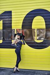 """10"" (DZ-fotografia (2,8 Million views, Thx!)) Tags: woman sexy lady hat gloves long blonde hair black yellow 10 heels stilettos garage door"