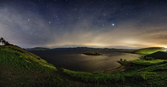 Windy Night Panorama (stuanderson7) Tags: grass landscape serene nature water mountains outdoor lake clouds sonya6000 hills long exposure wind blown trees shore california sky green nightscape countryside reservoir samyang12mmf2 longexposure windblown