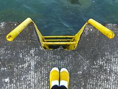 yellow (Pink Kitty Studios Adrienne Cragnotti) Tags: chicago yellow lakemichigan ladder