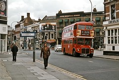 Routemaster on the 11, Fulham, June 1977 (David Rostance) Tags: uk people bus london car streetscene 70s routemaster 1970s 1977 fulham seventies triumphherald sw6 preworboys rm1865 865dye