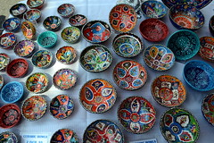 Turkish Bowls (Kasey Specian) Tags: turkey ceramic colorful downtown vendor bowls selling turkish streetfair somervillenj
