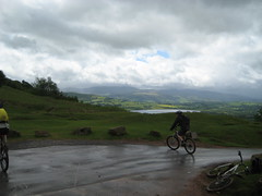 Above Llangorse Lake before the fantastic single track around Cefn Moel. (neil.finnes) Tags: dorset rough brecon beacons riders