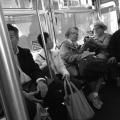 Sketching (pborenstein) Tags: sanfrancisco bw woman bus sketching