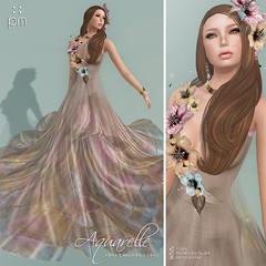 Aquarelle in Mink (http://www.purplemoonsl.com) Tags: flowers summer fashion colorful dress sl secondlife gown elegant pm longdress purplemoon