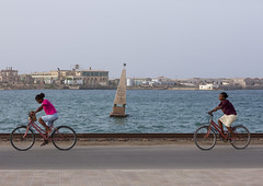 Massawa Island Causeway, Massawa, Eritrea (Eric Lafforgue) Tags: africa travel monument water bike bicycle horizontal outdoors photography women italia child redsea fulllength riding copyspace 2people twopeople massawa eritrea hornofafrica eastafrica realpeople colorimage eritreo erytrea childrenonly eritreia colourimage africanethnicity  massaoua ertra    eritre eritreja eritria builtstructure  rythre africaorientaleitaliana     eritre eritrja  eritreya  erythraa erytreja     ert6838