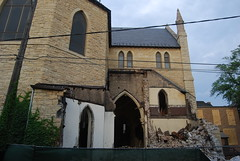 "St. James Catholic Church Demolition (artistmac) Tags: city urban chicago history stone ball flying illinois catholic arch destruction south side failure shortsighted gothic demolition steeple il neighborhood spire nave southside adapt wrecking rectory buttresses apse archdiocese cruciform ball"" stjamescatholicchurch ""wrecking"