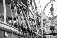 Old boat (koalie) Tags: bw france boat marseille harbour nb ropes hull provencealpesctedazur 2013021617marseille