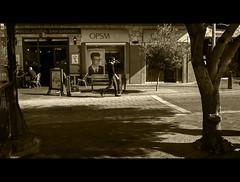 ... (B.M.K. Photography) Tags: omd 16x9 streetphotography guy with glasses shopwindow monochromatic australia westernaustralia