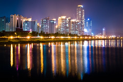Ulsan by Night (Chad Mauger) Tags: city longexposure travel reflection water night river asia southkorea ulsan