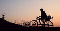 Many miles to go......... [Explored] (pallab seth) Tags: sunset india man bicycle silhouette cycling twilight artistic tribal ethnic indigenous westbengal villagelife backfromwork adivasi explored purulia ruralbengal ruralwestbengal pallabseth bestsilhouette baghmundi kairabera