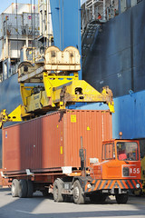 Loading of containers (ILO PHOTOS NEWS) Tags: ocean sea italy work boat workers ship inspection cargo safety genoa maritime labour organisation governments ilo oit seafarers employers internationallabourorganisation shipowners