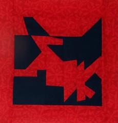 improv block 7774_1 (woodcut55) Tags: blue red orange quilting blocks improv scraps patchwork navyblue scrappy improvisational piecework