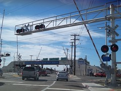 Southbound 32nd Street at San Diego Trolley Blue Line Crossing (FreewayDan) Tags: california orange highway sandiego pacificocean freeway