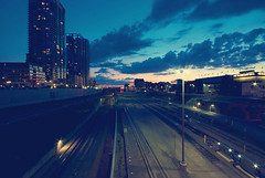 blue hour in toronto (thatgirlwiththekicks) Tags: blue summer sky toronto ontario canada night clouds buildings lights evening apartments dusk traintracks railway bluehour