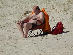 Sleeping in a Groove (mikecogh) Tags: man sand chair watch bald topless asleep sunbathing grange earphones