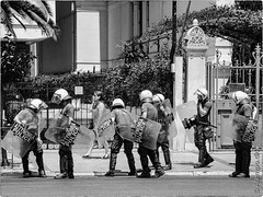 Athens Views (2488) (Niels Linneberg) Tags: riot police athens crisis blocade