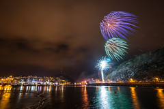 Windy Fireworks (Richard Larssen) Tags: light sea seascape norway night reflections landscape photography evening coast norge photo long exposure foto fireworks sony norwegen full richar