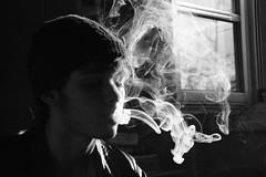Dempsey (Blankpulp) Tags: portrait blackandwhite bw white black men guy cigarette smoke profile