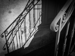 Stair & Shadow @ La Grave (PaulHoo) Tags: shadow bw mountain france grave les architecture contrast photoshop alpes dark lumix la stair cityscape village labs nik vignetting hautes topaz lightroom toning 2014 colorefex topazlabs silverefex analogfx deuxes paulhoo