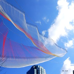 Art in the sky! (Trinimusic2008 - stay blessed) Tags: sculpture ted canada thanks vancouver march artist bc janet gratitude artinstallation 2014 echelman vancouverconventioncentre trinimusic2008 judymeikle interactivecellphones
