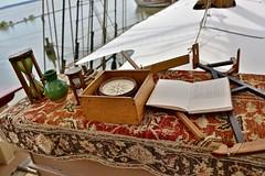 Navigation instruments on the Susan Constant (nutzk) Tags: virginia jamestown settlement susanconstant boat ship sail sailboat compass sextant hourglass