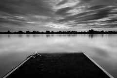Jetty (*ScottyO*) Tags: whitesands murrayriver sa southaustralia australia river water longexposure landscape riverscape jetty pier pontoon still calm clouds sky trees horizon rope blackandwhite bw monochrome reflection black contrast weather