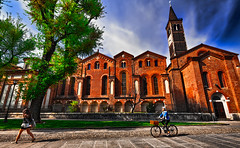 You wanted the bicycle? Now pedal! (Marco Trovò) Tags: marcotrovò hdr canon5d milano italia italy lombardia palace building street church basilica santeustorgio portaticinese