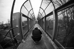 Tom (Nora Kaszuba) Tags: monochrome blackwhite footbridge pedestrianfootbridge amtrak railroadtracks stoningtonconnecticut rokinon8mm fujixt2 norakaszuba stoningtonvillage stoningtonborough