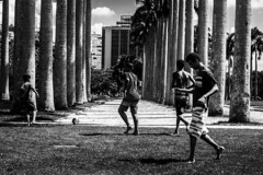 País do futebol (jadc01) Tags: d3200 nikon nikon18140mm people pessoas streetphotography blackandwhite blackwhite futebol soccer ball clouds trees building grass