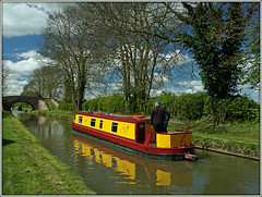 'Bryn' and gone....... (Jason 87030) Tags: bryn bpoats narrowboat rare pretty exclusive capture explore exist amazing pro amateur snap photo super great fantastic trees bar spring april 2017 nice lovely yellow water canal refelction man woman people cruise leisure holiday craft crt oxfordcanal grandunioncanal shared joing waterways towpath napton braunston northants northamptonshire bridge cut