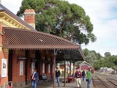 Maldon. The railway station. Now only used for tourist steam trains to Castlemaine. (denisbin) Tags: maldon railwaystation granite rock kookaburrarock kookaburra churcg baptist welshbaptist pickets fence