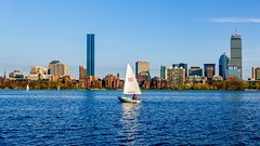 Charles River, Boston ((Jessica)) Tags: boston skyline sailboat massachusetts newengland backbay water charlesriver river boat person redlifejacket lifejacket mit sailing sunny outdoors waterfront