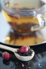 A Rose Cup of Tea (haberlea) Tags: home athome stolllife tea drink cur glass table rose roses spoon woodenspoon hot rosebuds driedflowers