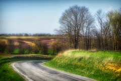 Central Illinois In Early Spring (myoldpostcards) Tags: rural country landscape hills trees kinner road rd menardcounty centralillinois illinois il myoldpostcards randall randy vonliski season spring centralillinoisinearlyspring atmosphere shadows colors green gold purple fields farmland canon eos 7dmarkii hdr
