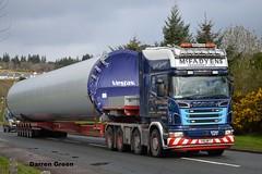 MCFADYENS TRANSPORT LTD SCANIA R620 V8 8X4 V90 MFT (denzil31) Tags: mcfadyens transport ltd scania r620v8 8x4 topline campbeltown nooteboomtrailers nooteboom manoovr trailer vestas tower bhlaraidh windfarm scaniatrucks stgocat3 heavyhaulage kelsalightbar