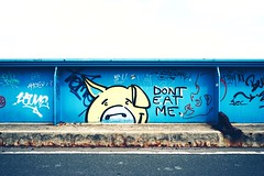 DONT EAT ME. (christian mu) Tags: münster muenster germany graffiti bridge architecture