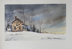 """Moonlit Farmhouse"" Line and Wash Watercolor. New YouTube Video. (Peter Sheeler) Tags: penandink painting simple wash easy draw tutorial howto help tips tricks beginner watercolour watercolor penandwash lineandwash drawing peter sheeler fun quick sketch sheelerart englishsubtitles shadows urbansketch waterbrush lamy higgins pigma twsbi uniball farm rural fall countrysidelandscapesunsetduskbarnfarmwinter"