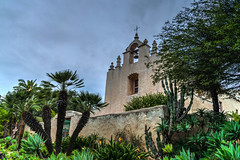 Classic California Church (tquist24) Tags: california hdr monticito nikon nikond5300 ourladyofmtcarmelcatholicchurch outdoor architecture bell cacti cactus church clouds cloudy cross geotagged palmtree tree wall montecito unitedstates