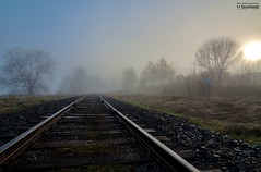Disappearing_HDR (le Brooklands) Tags: abercorn brume d7000 fog foggy hdr matin morning printemps private privé québec rail railroad sigma1224mm spring track voieferrée
