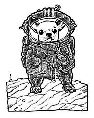 Intrepid explorer (Don Moyer) Tags: dog space spacesuit ink drawing sketchbook moyer donmoyer brushpen