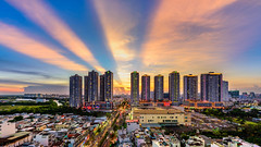 Saigon skyline @ super sunset (daihocsi [(+84) 918.255.567]) Tags: saigon skyline sunset ray ráng sunrisecity
