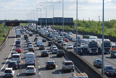 M25 Traffic (J_Piks) Tags: road motorway traffic cars lampposts streetlighting streetlights sign signpost roadsigns overheadsign directionsign london heathrow m25
