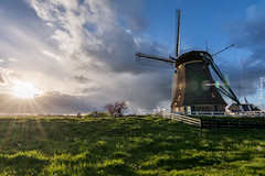 As The Sun Set Behind The Clouds (ShutterBasset) Tags: windmill sunset clouds rainy warm grass polder dyke sunflare glare nikon netherlands d5200 tokina