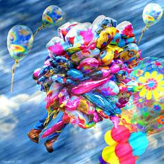 Heeeeelp! (Lemon~art) Tags: fun ballons man wind suddengust manipulation whimsy humour smile happy balloonseller