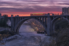 Monroe St Bridge Spring Sunrise (NikonDigifan) Tags: monroestbridge washingtonwaterpower avista spokaneriver spokane spokanewashington sunrise hdr blendif niksoftware colorefexpro nikond750 nikon28300 mikegassphotography