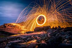 Molten (garethleethomas) Tags: wirewool lightpainting light night beach coast fun molten reflections rocks art arty artistic