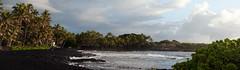 Black Sand Sunrise Panorama (Geoff Sills) Tags: punaluu black sand beach hawaii panorama sunrise pacific ocean palm trees travel adventure photography united states tropical paradise nikon d700 70200 vrii 28g geoffrey william sills geoff illumeon digital illumeondigital explore