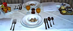 Breakfast for two: to start ... (ronmcbride66) Tags: breakfast breakfastmenu damasklinen linen tablecloth cutlery roomkey pacesetting menu juice strawberries fruit dinnerservice muesli butter jams fruitsalad